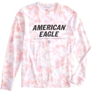 American Eagle Tie Dyed Logo Long Sleeved Unisex T-Shirt Size XS NEW